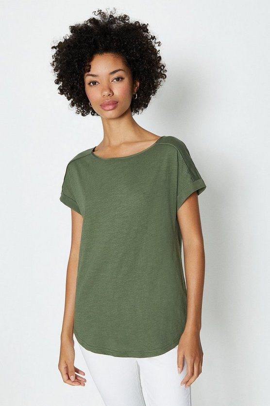 Khaki Cotton Slub Plain T-Shirt