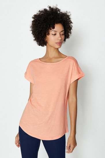 Orange Cotton Slub Plain T-Shirt