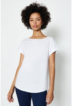 White Cotton Slub Plain T-Shirt