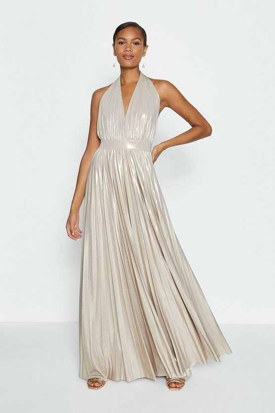 Gold Halterneck Metallic Pleated Maxi Dress