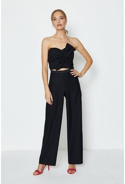 Black Satin Look Back Trouser