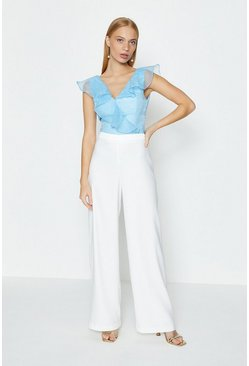 Ivory Satin Look Back Trouser