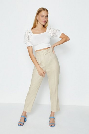 Nude Belted Washed Linen Trouser
