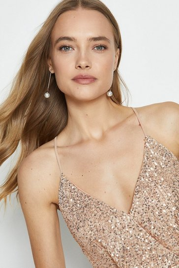 Pink Strappy Sequin Peplum Cami