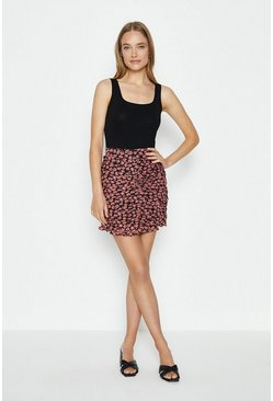 Black Ruche Front Printed Mini Skirt