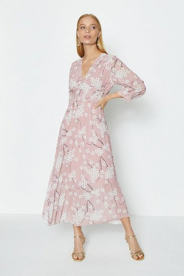 Blush Printed V-Neck Pleated Skirt Midi Dress