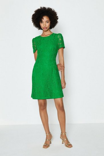 Green Cap Sleeve Lace Short Dress