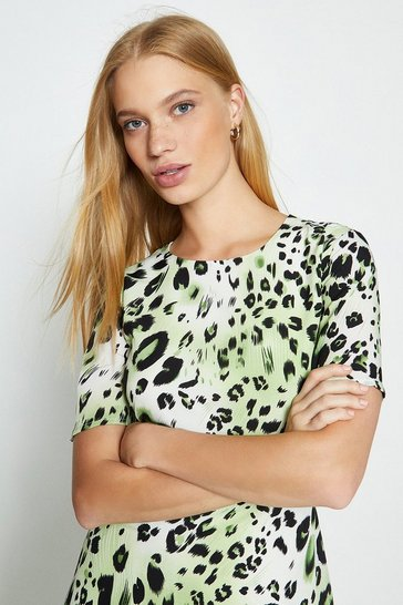 Lime Animal Print Angel Sleeve Midi Dress