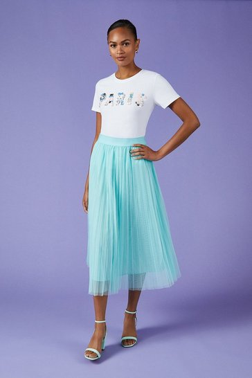 Aqua Pleated Tulle Midi Skirt
