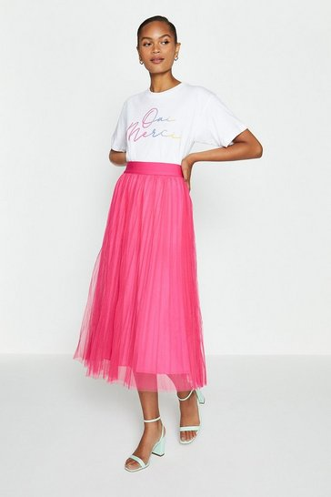 Hot pink Pleated Tulle Midi Skirt