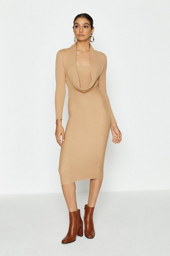 Camel Cowl Neck Rib Knitted Dress