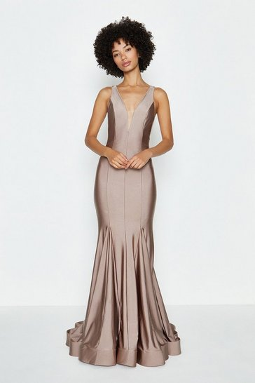 Pink Deep Plunge V-Neck Maxi Dress