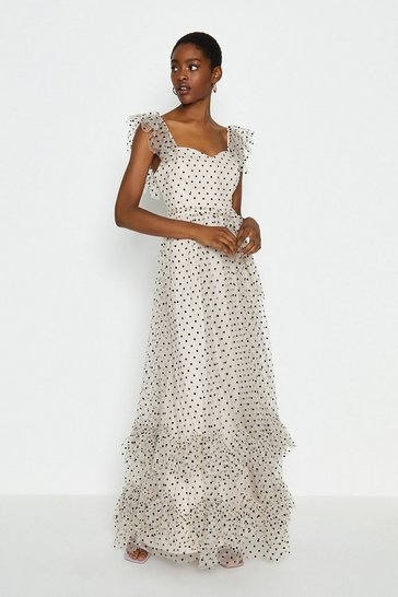 Mono Polkadot Spot Tiered Maxi Dress