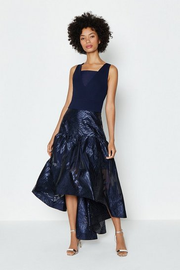 Navy Drop Waist Clipped Jacquard Midi Dress