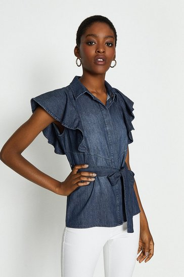 Blue Frill Sleeve Shirt