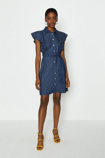 Blue Frill Sleeve Shirt Dress