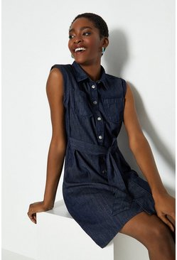 Blue Tie Front Denim Shirt Dress
