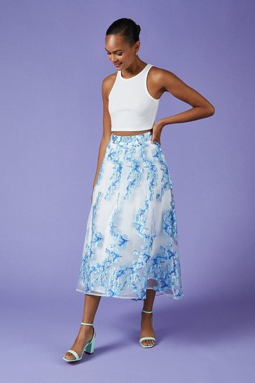 Blue Metallic Clipped Jacquard Skirt