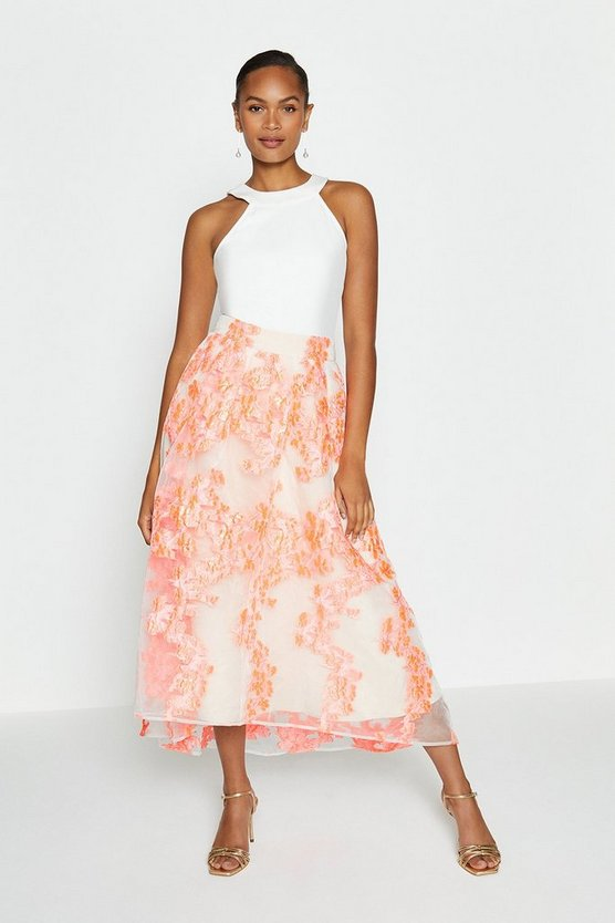 Coral Metallic Clipped Jacquard Skirt