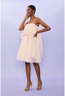 Blush Tulle Bandeau Mini Dress