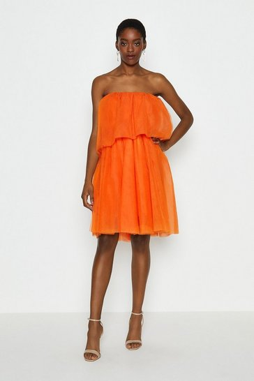 Orange Tulle Bandeau Mini Dress