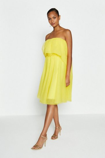 Yellow Tulle Bandeau Mini Dress