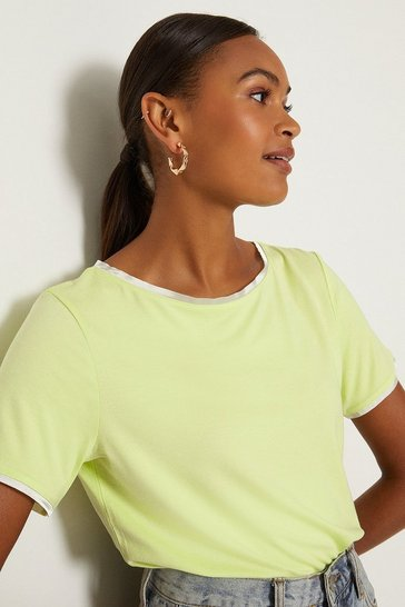 Mint Satin Trim Slash Neck T-Shirt