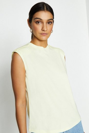 Lemon Cotton Tee With Shoulder Pads