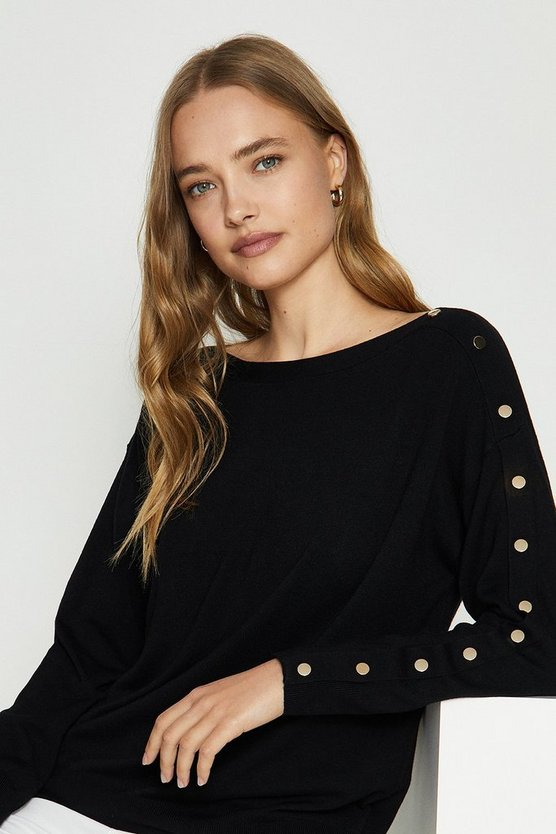 Black Gold Popper Slouchy Jumper