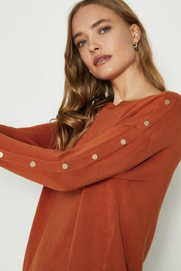 Burnt orange Gold Popper Slouchy Jumper