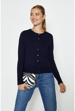 Navy Gold Popper Cardigan
