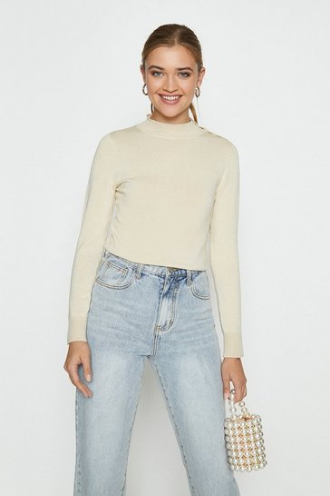 Cream Gold Popper Turtle Neck Jumper