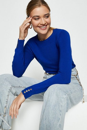 Cobalt Gold Popper Crew Neck Jumper