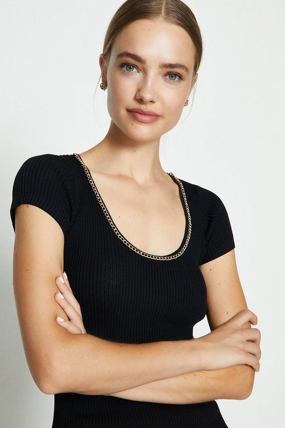 Black Chain Neck Knitted Dress