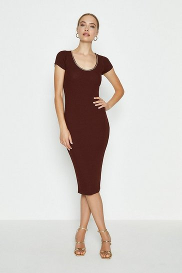 Rust Chain Neck Knitted Dress