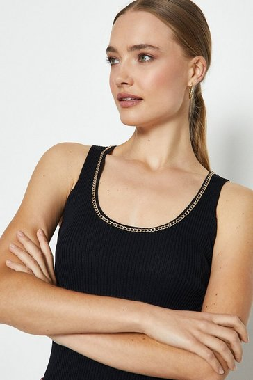 Black Chain Neck Knitted Top