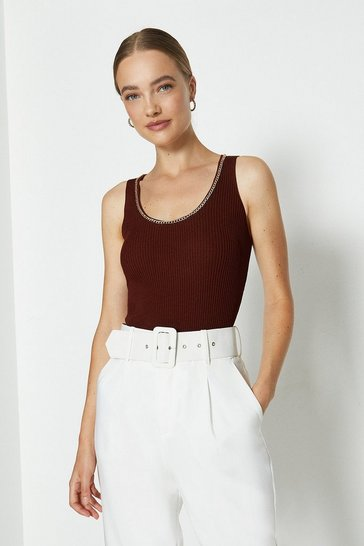 Rust Chain Neck Knitted Top