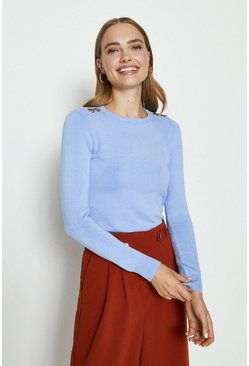 Pale blue Trim Detail Knitted Jumper