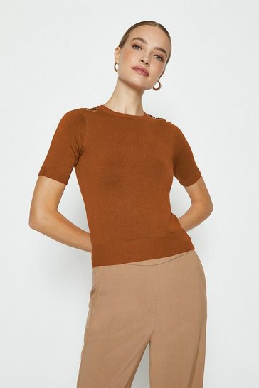 Cashew Short Sleeve Trim Detail Knitted Top