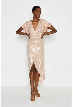 Gold Metallic Angel Sleeve Wrap Dress