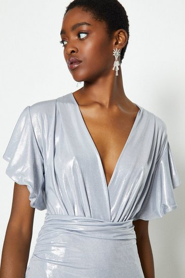 Silver Metallic Angel Sleeve Wrap Dress
