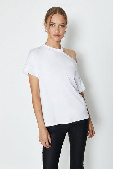 White Short Sleeve Cut Out T-Shirt