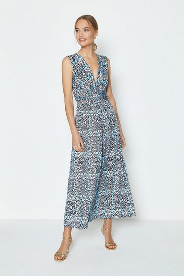 Blue Printed Jersey Twist Front Maxi Dress
