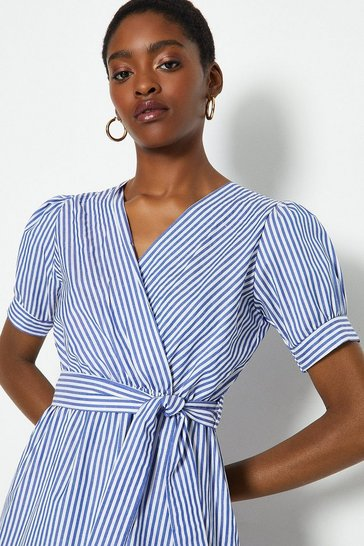 Blue Stripe Wrap Midi Dress