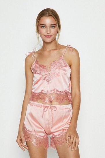 Blush Lace Trim Satin Crop Cami And Short Set