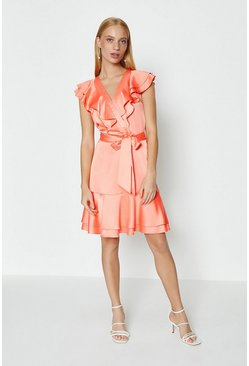 Coral Ruffle Neck Plain Dress
