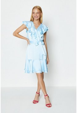Pale blue Ruffle Neck Plain Dress