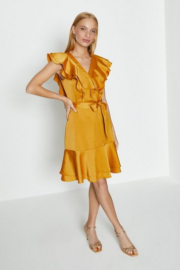 Rust Ruffle Neck Plain Dress