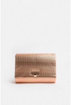 Bronze Metallic Clutch Bag