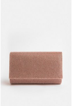 Pink Diamante Clutch Bag